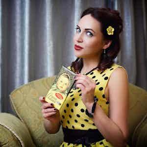 Black and yellow polka-dots dress