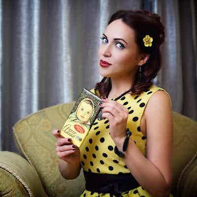 Black and yellow polka-dots dress