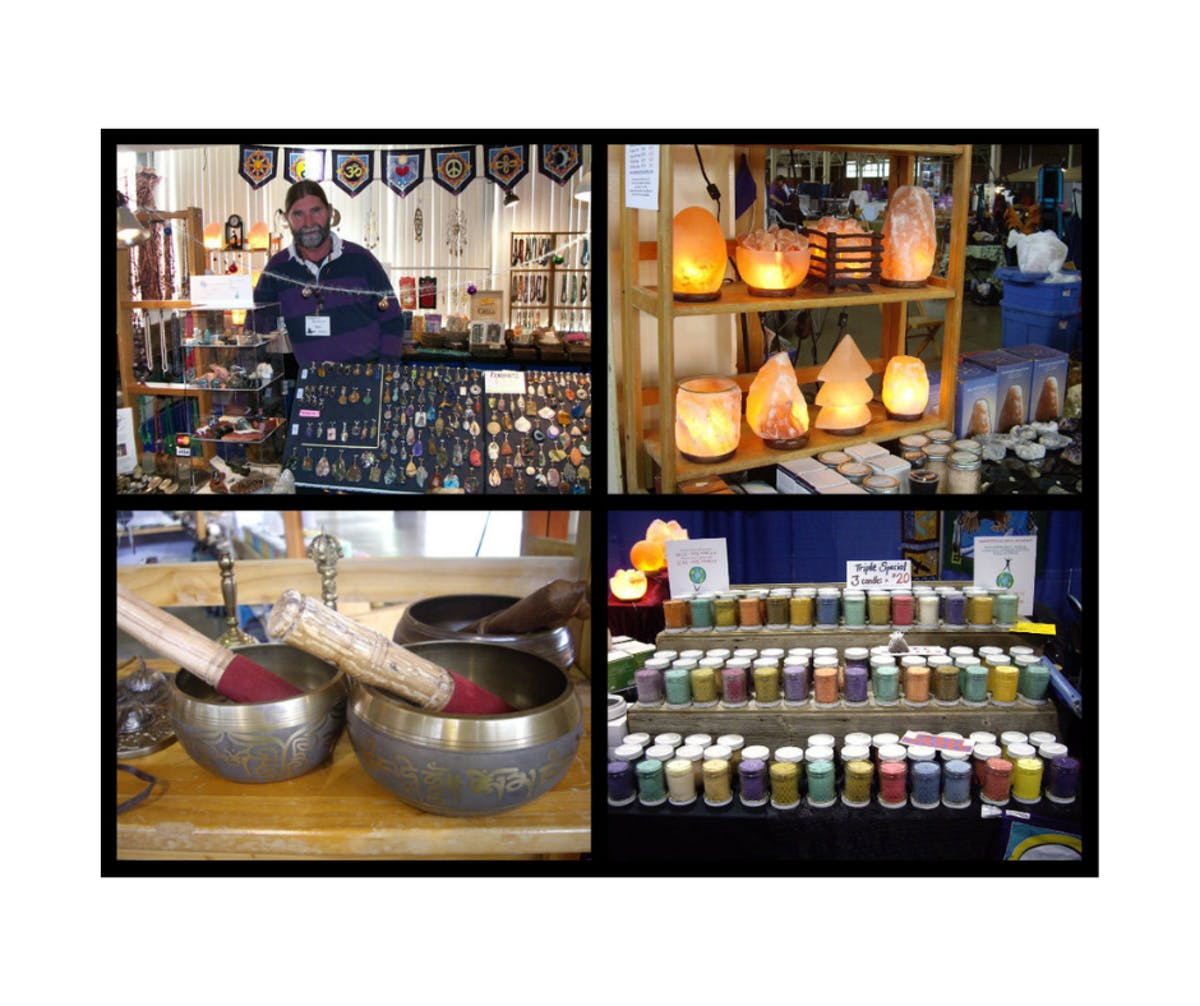 Montage of 4 images showing soy wax candles, Himalayan salt lamps, Tibetan singing bowls, and Mark Wells who owns Elements of Rejuvenation