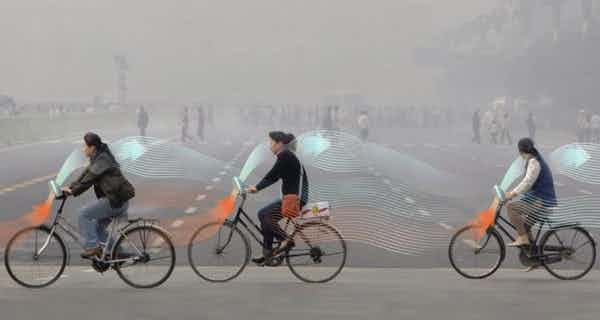 This bicycle thus purifies polluted air
