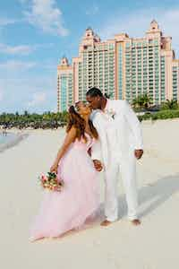 Wedding on a Public Beach in the Bahamas