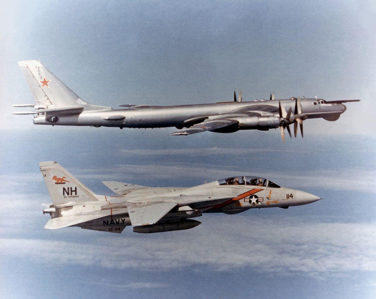 F-14 Tomcat VF-114 escorting TU-95 Bear