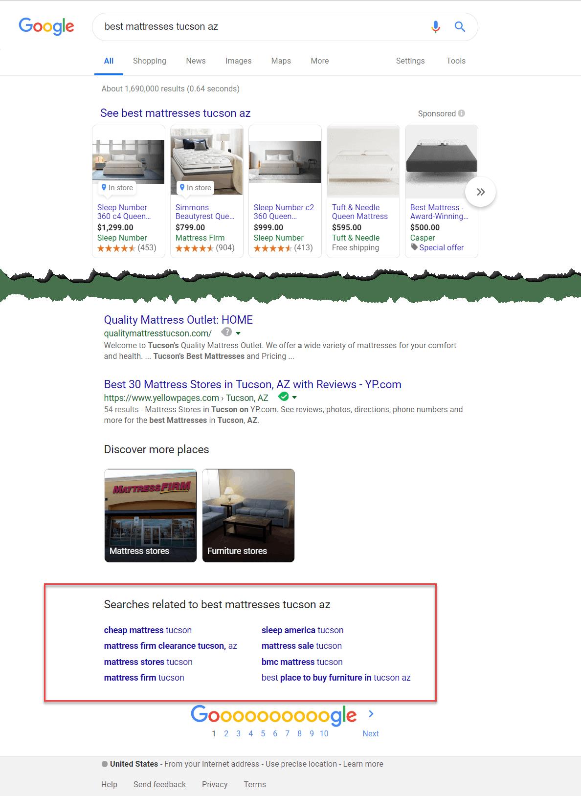 best mattresses Tucson Google search