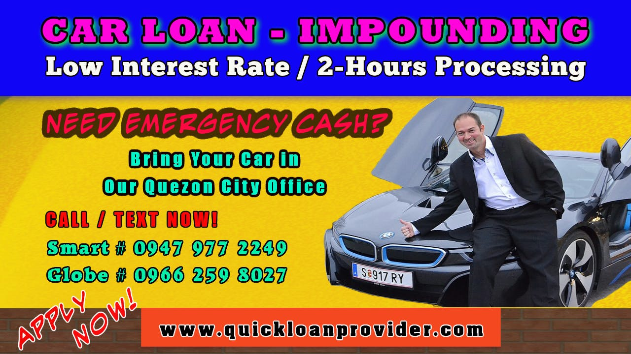Car Loan Impounding Philippines by Quickloanprovider.com Image
