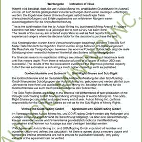 Bestätigung Aulicio Mining Inc