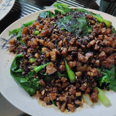 Minced Pork Fried Kai Lan