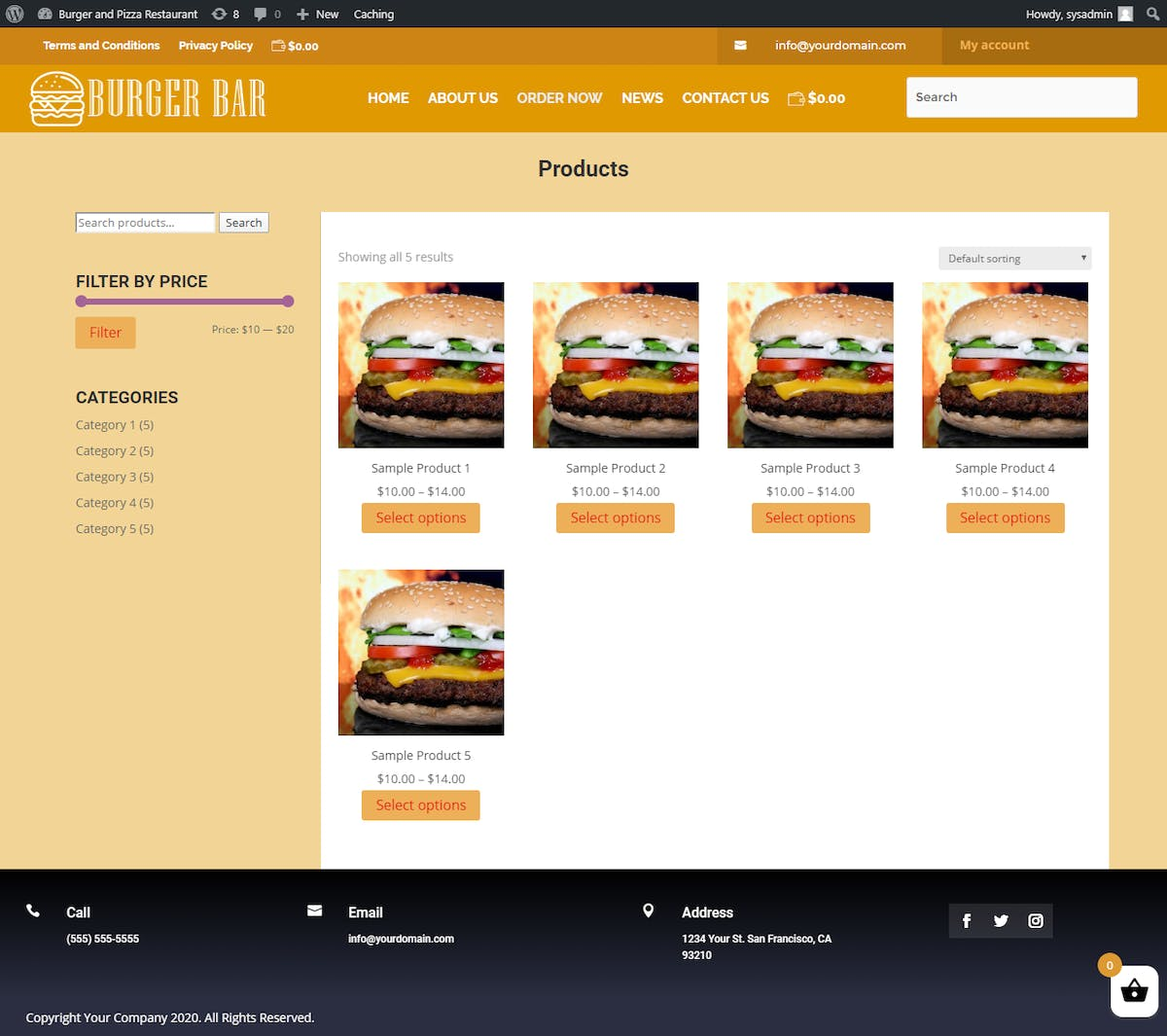 Burger Site Menu Setup