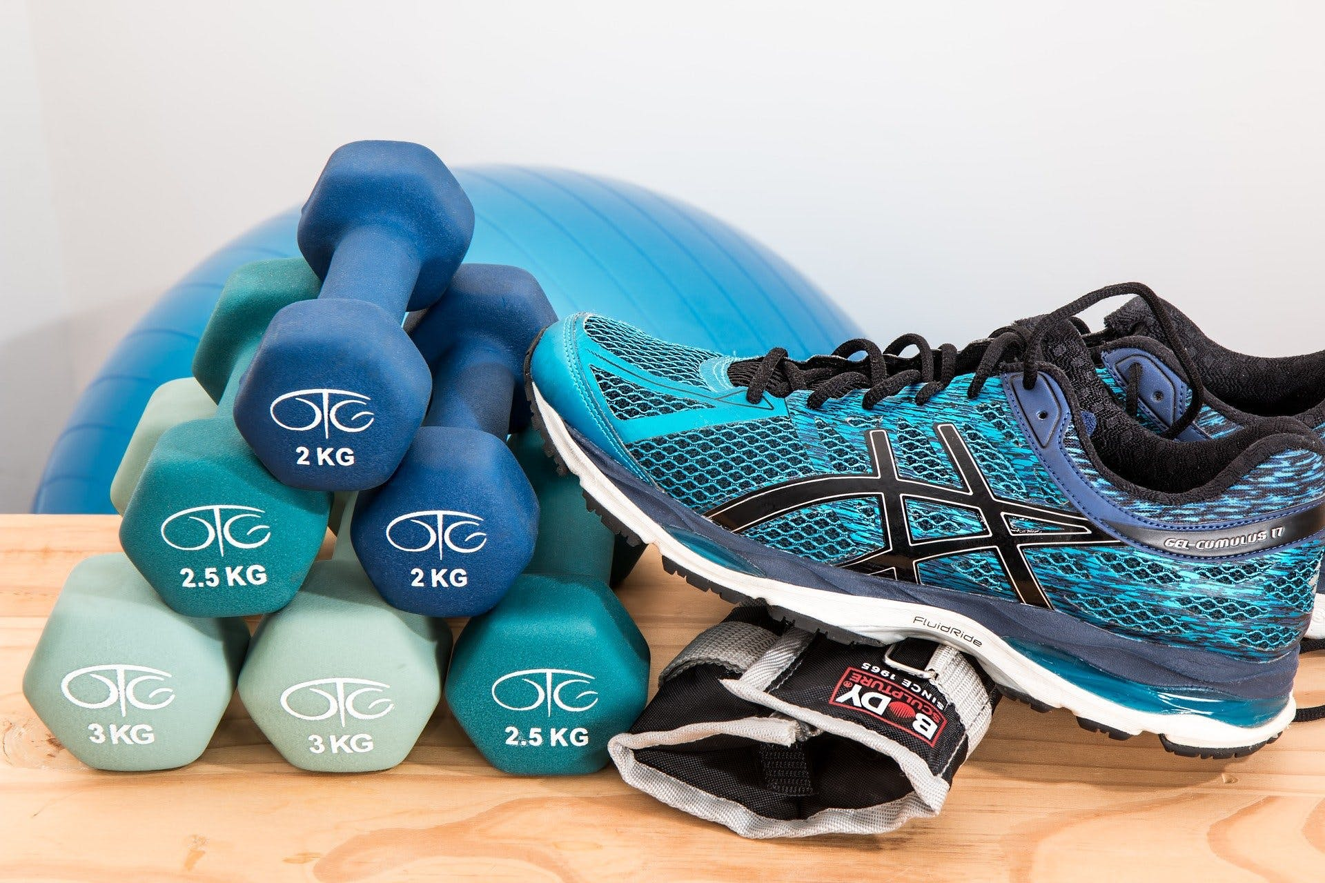 Club Raw-Fit. At Home Workout. Sneakers and Dumbbells
