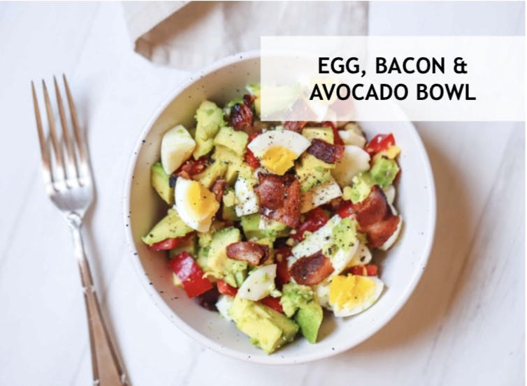 www.FITYOUCOMPLETE.com Egg, Bacon & Avocado Salad