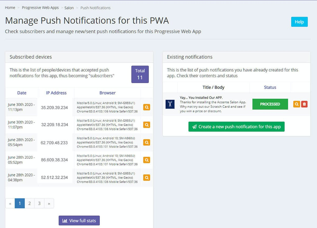 Progressive Web App Message Management Dashboard