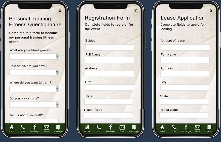 Business Forms Displayed On Three Smartphones