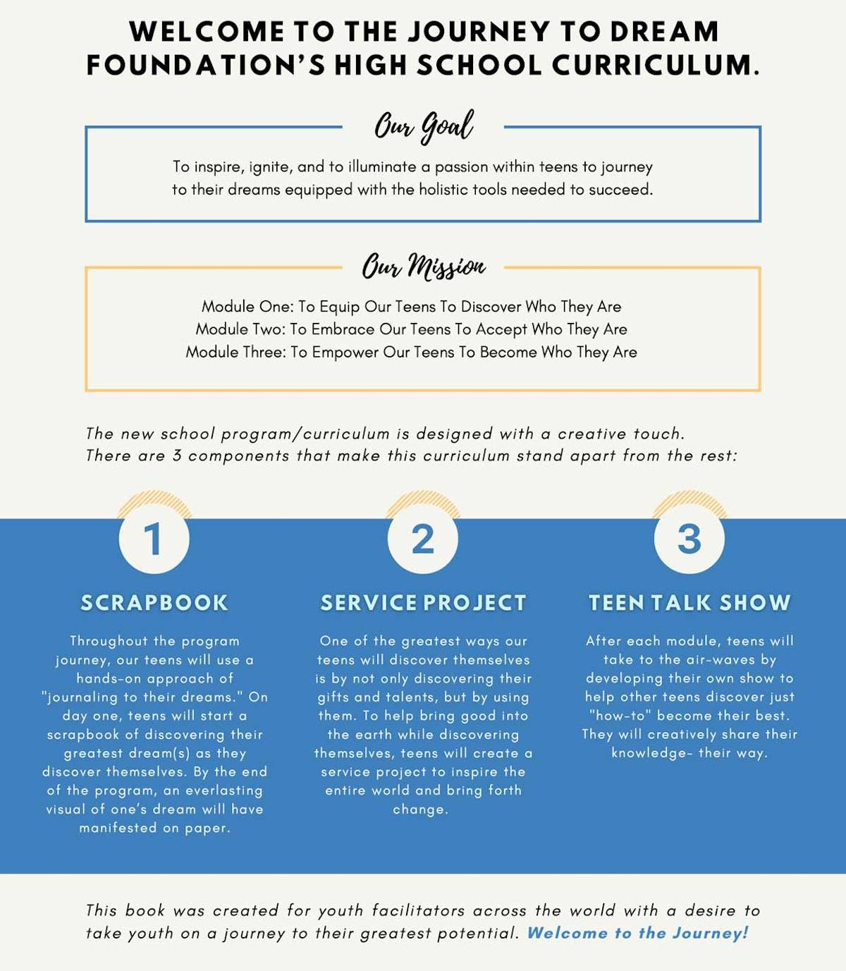 Journey to Dream Foundation's High School Curriculum