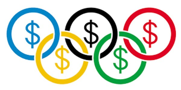 sports funding olympic rings with dollar signs